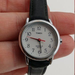 Ladies Timex Watch CR1216 Black Leather Band